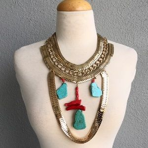 Jewelry - Egyptian Cleopatra Necklace with Coral &Turquoise